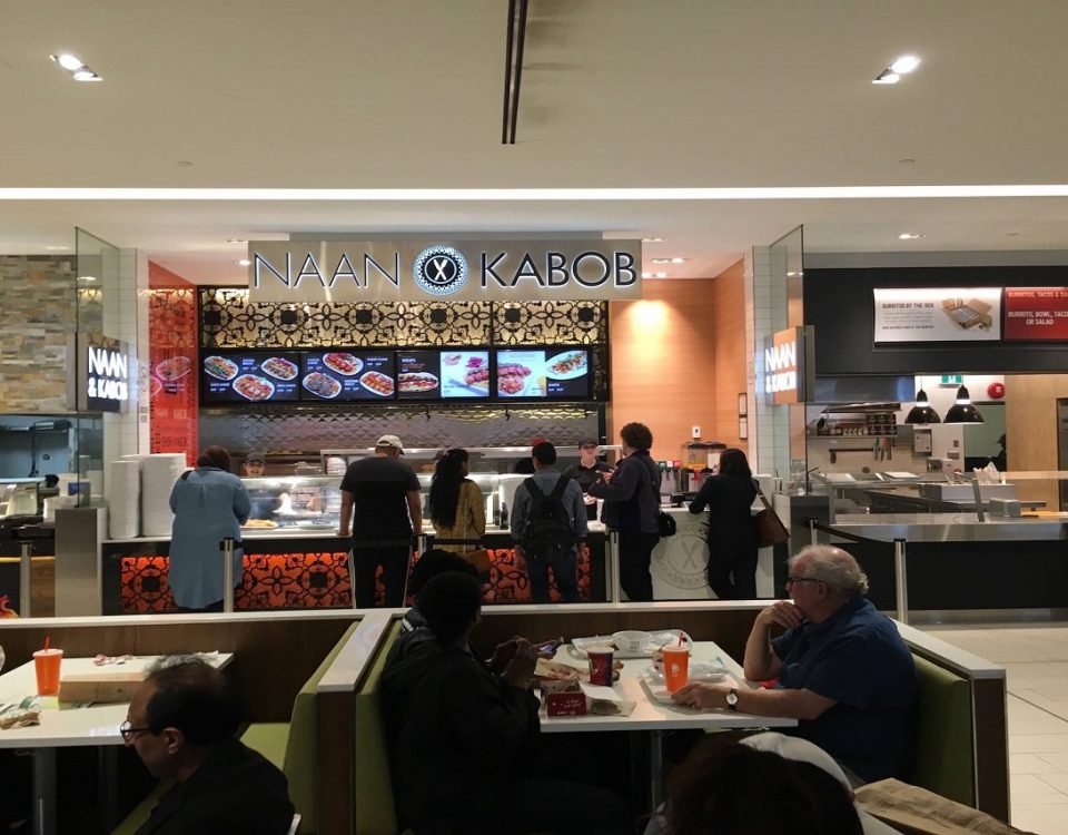 Digital Menu Board Video Wall Impact and attracting customers showing videos covering multiple screens at Naan & Kabob located in Scarborough Town Centre