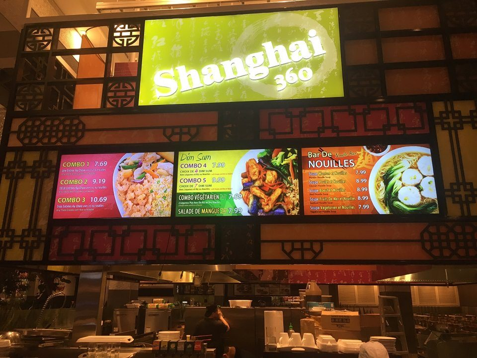 Digital Menu Board Video Wall Impact and attracting viewers showing videos covering multiple screens at Shanghai 360 located in Laval, Quebec