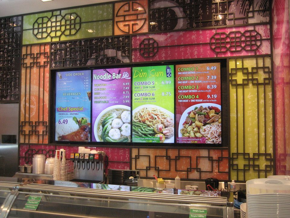 Digital Menu Board Video Wall Impact and attracting viewers showing videos covering multiple screens at Shanghai 360 located in Scarborough Town Centre