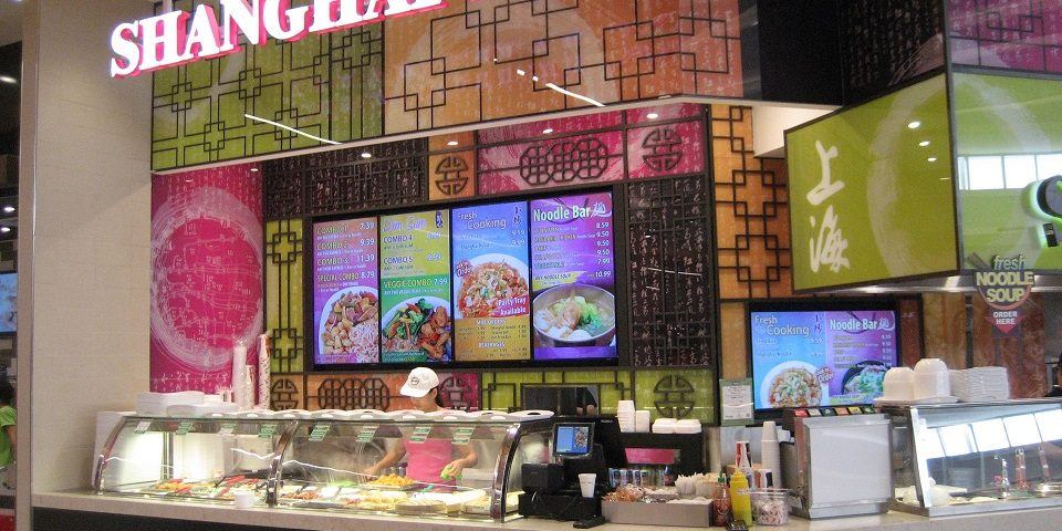 Digital Menu Board Video Wall Impact and attracting viewers showing videos covering multiple screens at Shanghai 360 located in Oshawa Centre, Oshawa